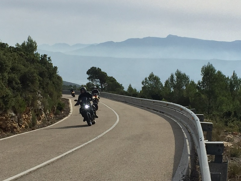 Motorcycle riders on a Spanish road
